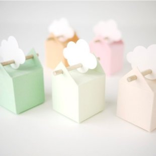 6 pastel colored favor boxes: so gentle, sweet and tender